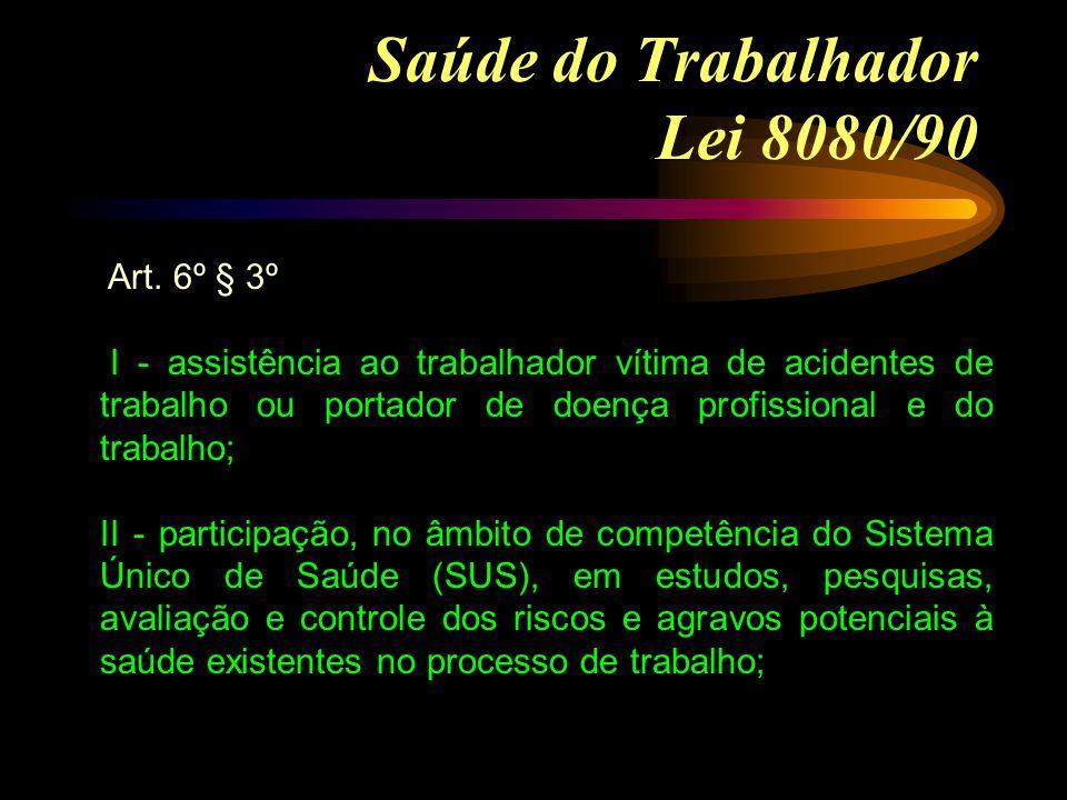 Saúde do Trabalhador Lei 8080/90 Art. 6º § 3º I - assistência ao trabalhador vítima de acidentes de trabalho ou portador de doença profissional e do t