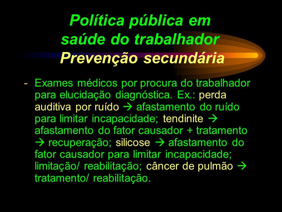 Política pública em saúde do trabalhador Prevenção secundária -Exames médicos por procura do trabalhador para elucidação diagnóstica. Ex.: perda audit