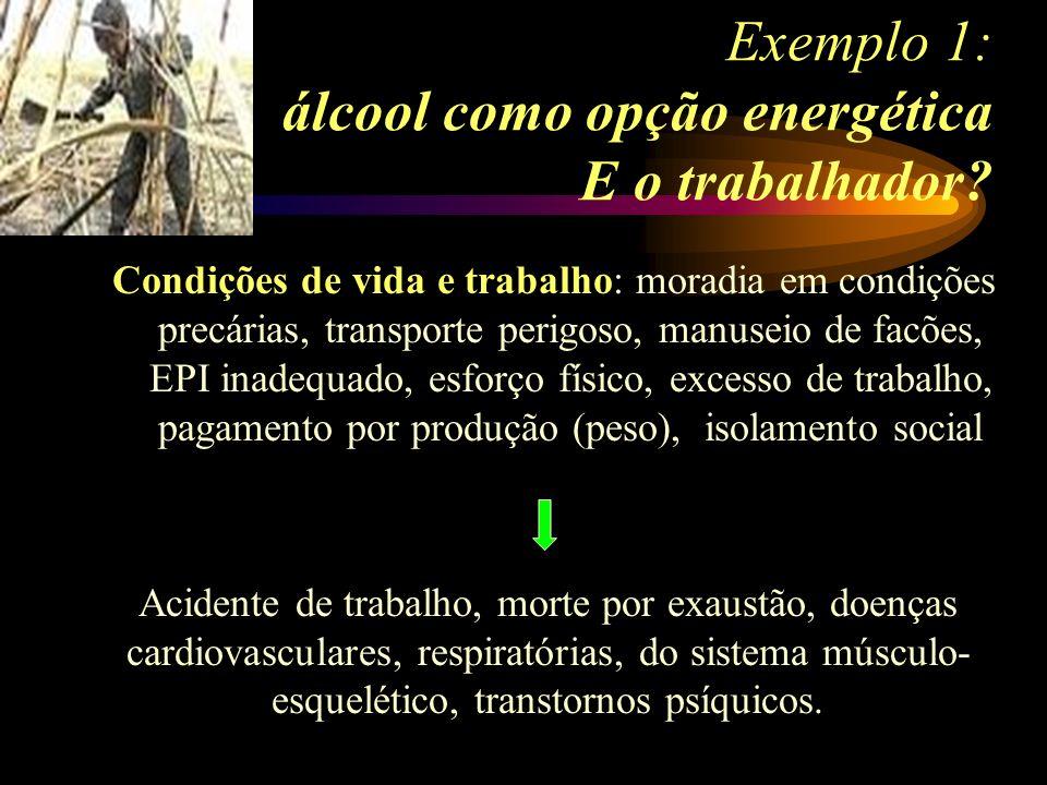 Exemplo 1: álcool como opção energética E o trabalhador? Condições de vida e trabalho: moradia em condições precárias, transporte perigoso, manuseio d