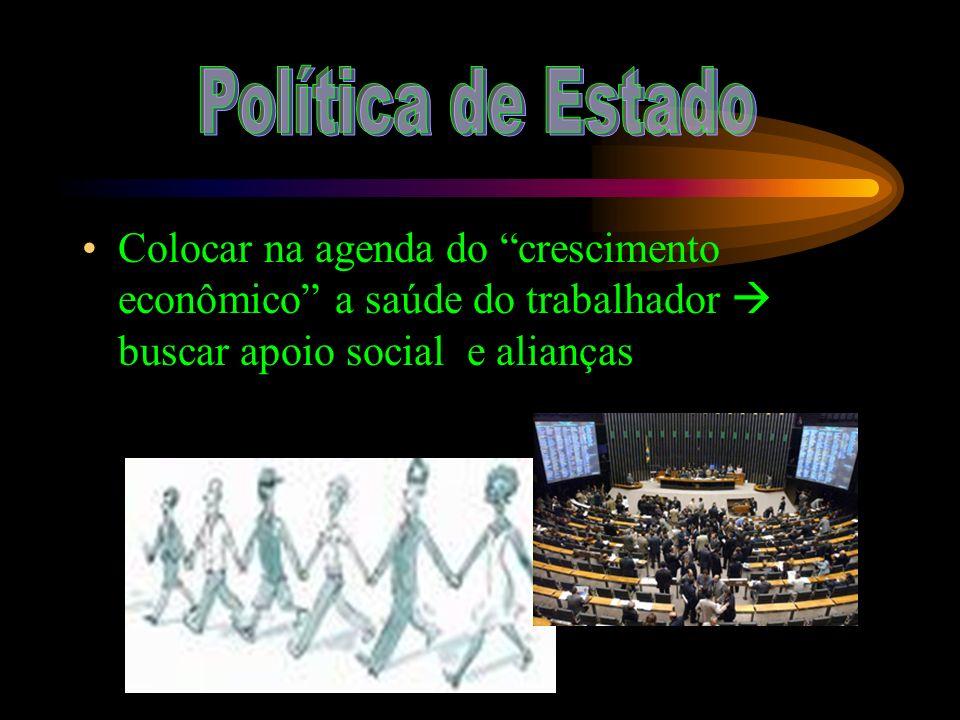 Colocar na agenda do crescimento econômico a saúde do trabalhador buscar apoio social e alianças