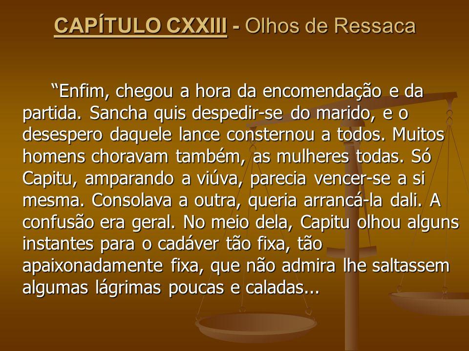 CAPÍTULO CXXIII - Olhos de Ressaca Enfim, chegou a hora da encomendação e da partida. Sancha quis despedir-se do marido, e o desespero daquele lance c