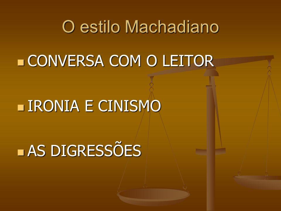 O estilo Machadiano CONVERSA COM O LEITOR CONVERSA COM O LEITOR IRONIA E CINISMO IRONIA E CINISMO AS DIGRESSÕES AS DIGRESSÕES