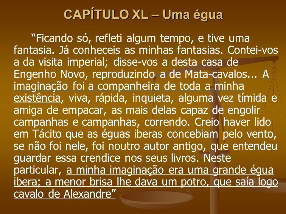 CAPÍTULO XL – Uma égua Ficando só, refleti algum tempo, e tive uma fantasia. Já conheceis as minhas fantasias. Contei-vos a da visita imperial; disse-