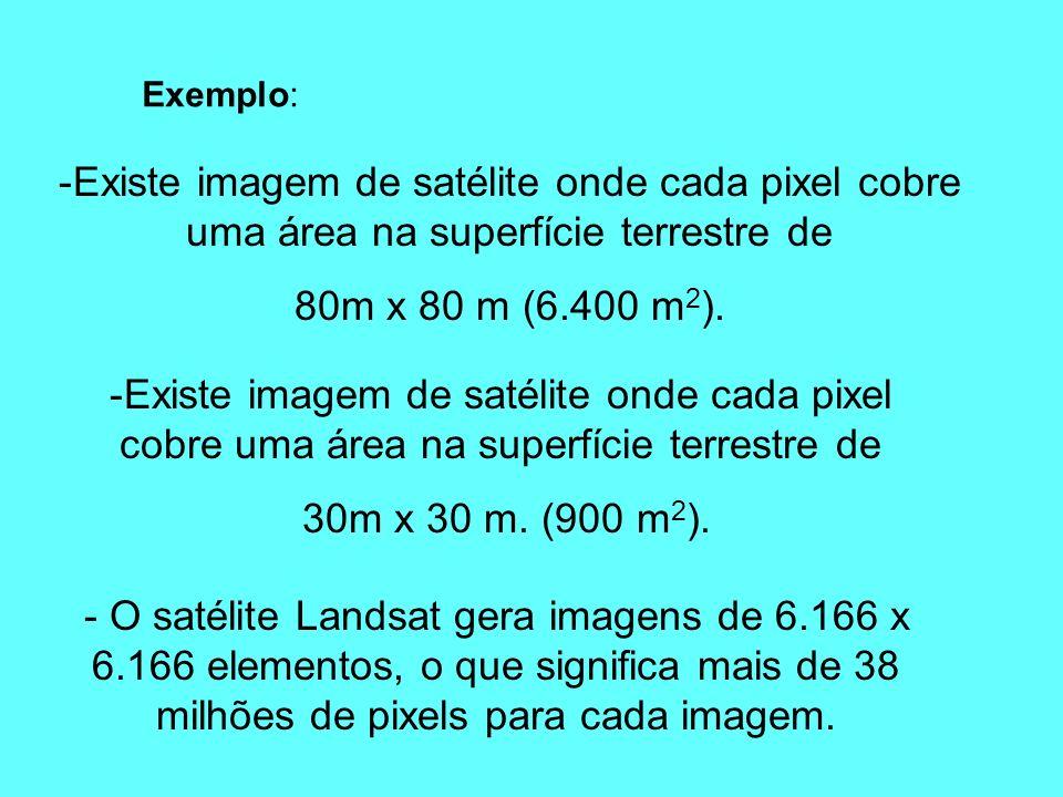 -Existe imagem de satélite onde cada pixel cobre uma área na superfície terrestre de 80m x 80 m (6.400 m 2 ). Exemplo: -Existe imagem de satélite onde