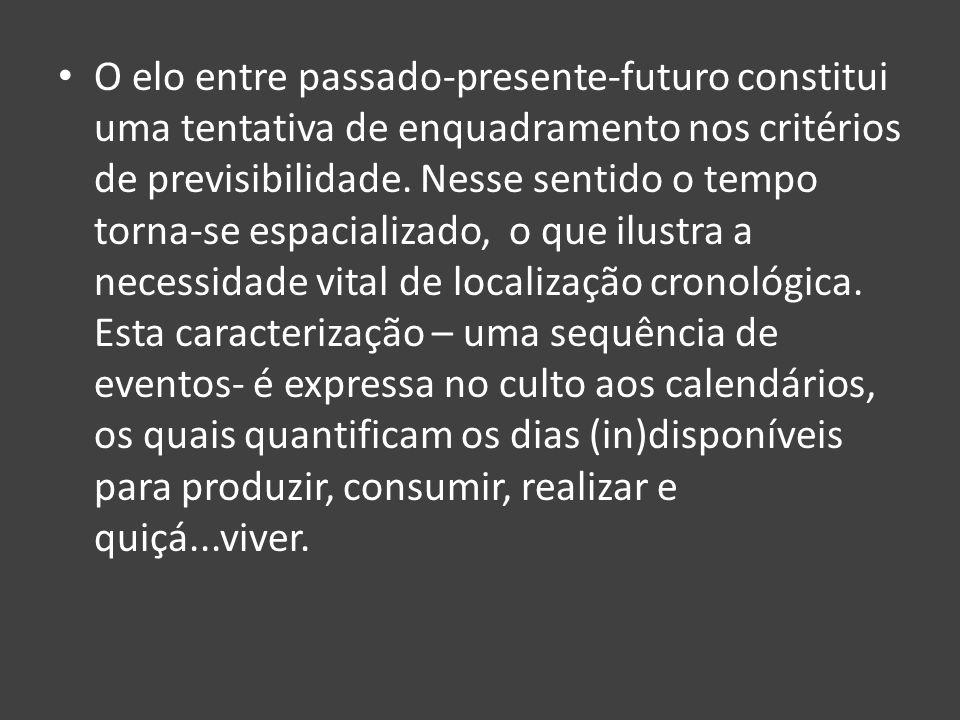 O elo entre passado-presente-futuro constitui uma tentativa de enquadramento nos critérios de previsibilidade. Nesse sentido o tempo torna-se espacial
