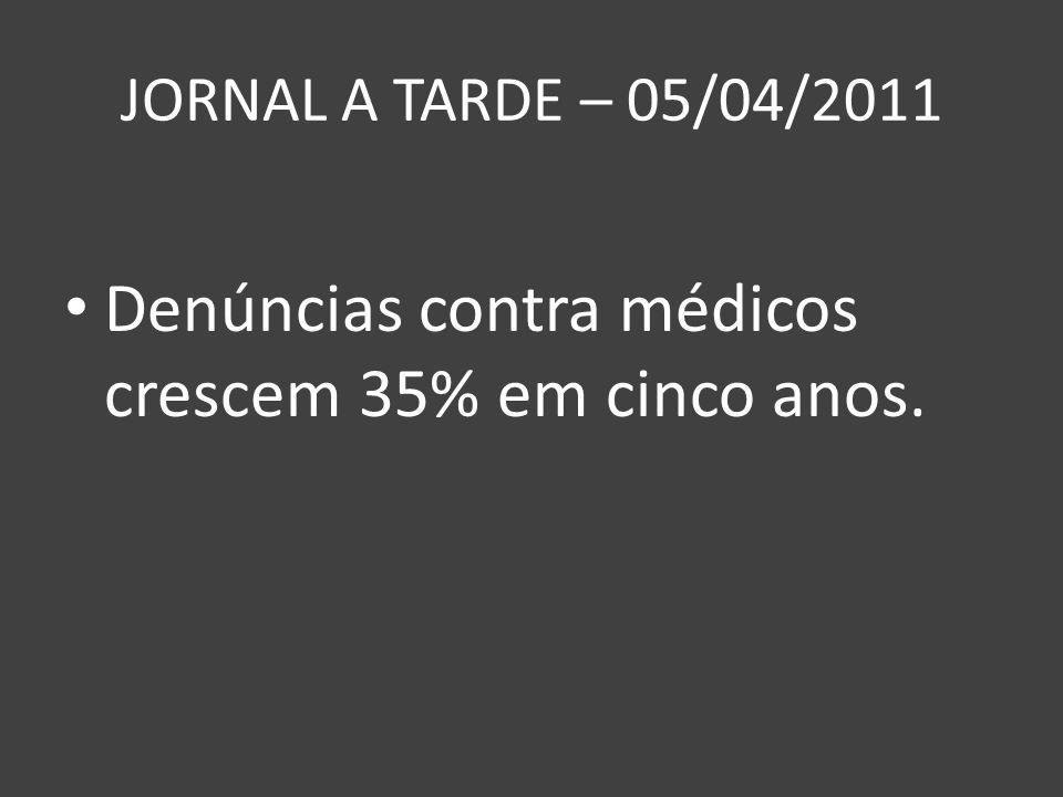 JORNAL A TARDE – 05/04/2011 Denúncias contra médicos crescem 35% em cinco anos.