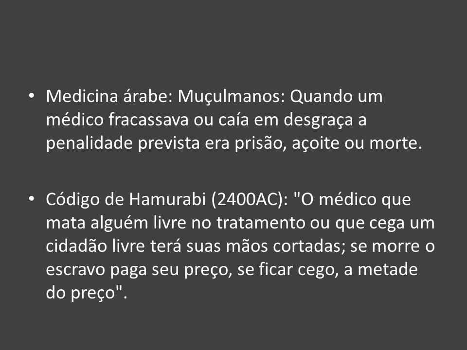 Medicina árabe: Muçulmanos: Quando um médico fracassava ou caía em desgraça a penalidade prevista era prisão, açoite ou morte. Código de Hamurabi (240