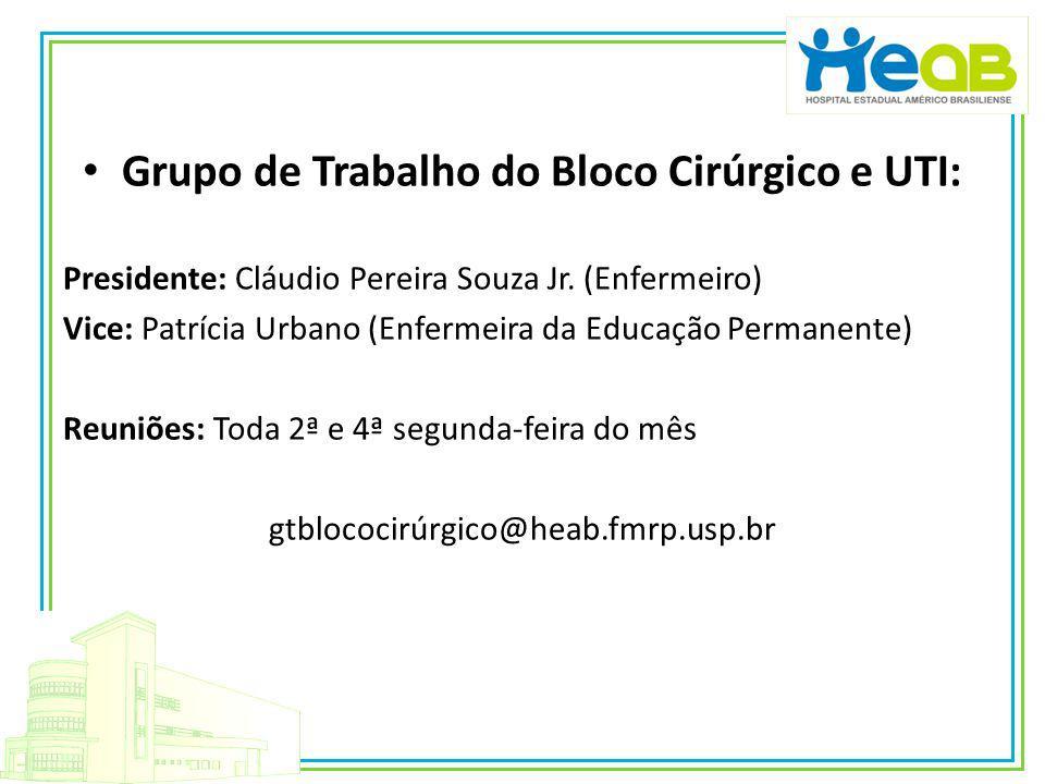 Grupo de Trabalho do Bloco Cirúrgico e UTI: Presidente: Cláudio Pereira Souza Jr. (Enfermeiro) Vice: Patrícia Urbano (Enfermeira da Educação Permanent