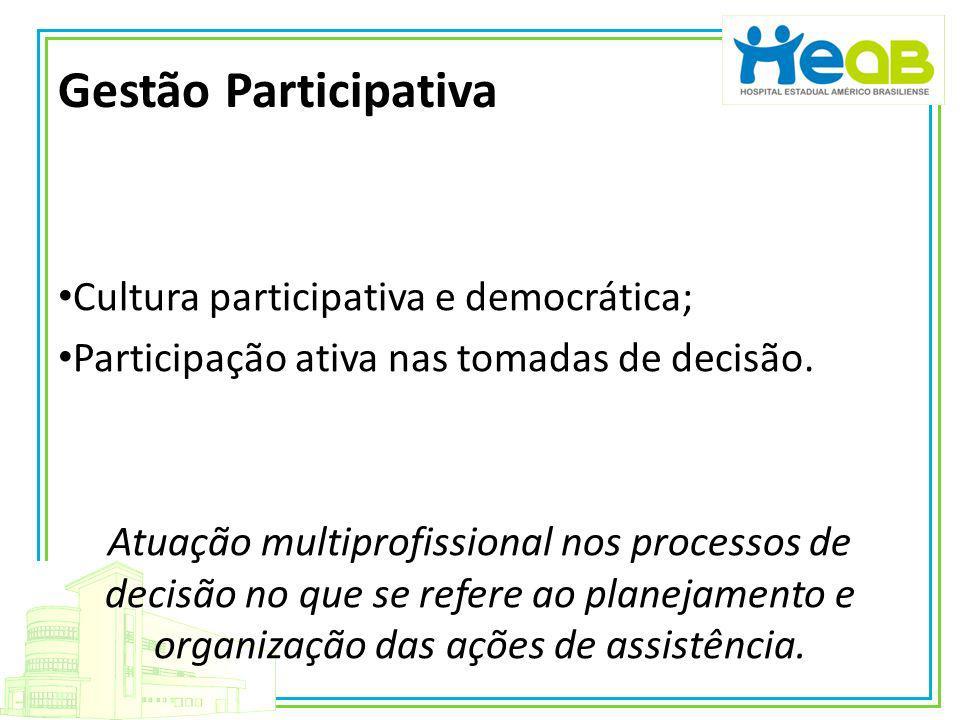 Gestão Participativa Cultura participativa e democrática; Participação ativa nas tomadas de decisão. Atuação multiprofissional nos processos de decisã