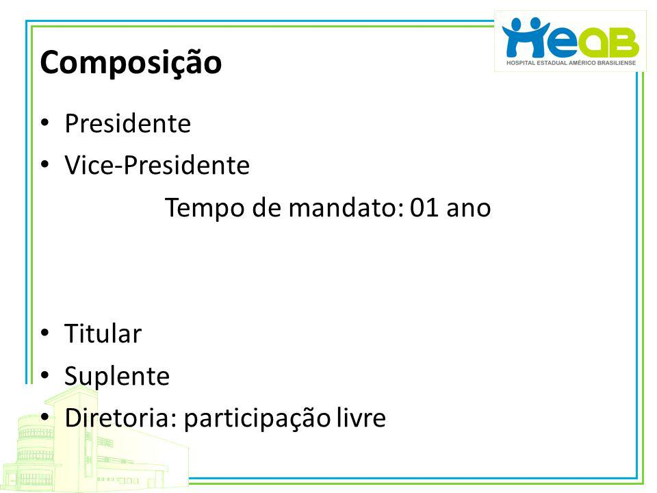 Composição Presidente Vice-Presidente Tempo de mandato: 01 ano Titular Suplente Diretoria: participação livre