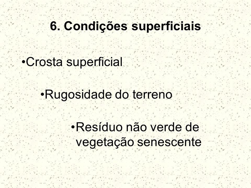 6. Condições superficiais Crosta superficial Rugosidade do terreno Resíduo não verde de vegetação senescente