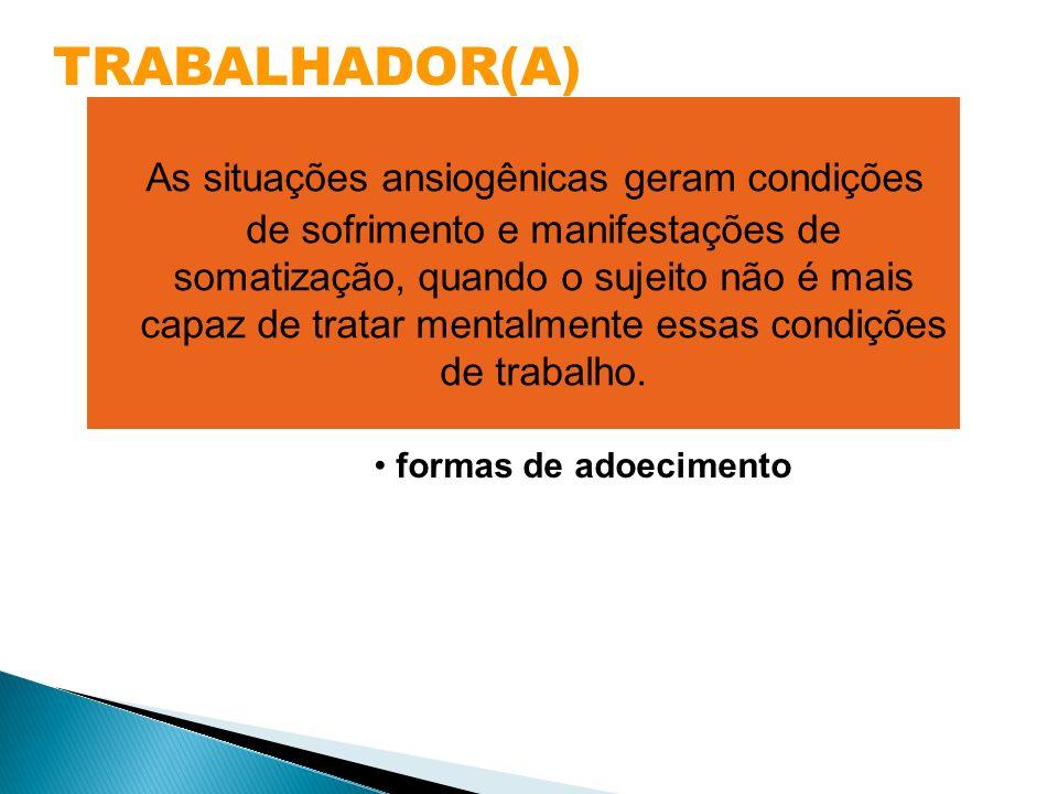 TRABALHADOR(A) banalização da doença discriminação no trabalho indiferença social pela doença disseminação conceitual errônea formas de adoecimento As