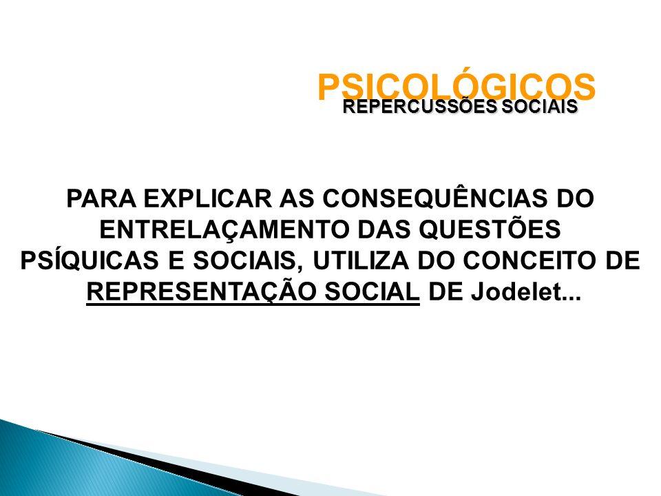 PSICOLÓGICOS REPERCUSSÕES SOCIAIS PARA EXPLICAR AS CONSEQUÊNCIAS DO ENTRELAÇAMENTO DAS QUESTÕES PSÍQUICAS E SOCIAIS, UTILIZA DO CONCEITO DE REPRESENTA