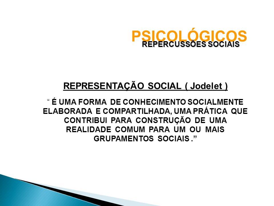 PSICOLÓGICOS REPERCUSSÕES SOCIAIS REPRESENTAÇÃO SOCIAL ( Jodelet ) É UMA FORMA DE CONHECIMENTO SOCIALMENTE ELABORADA E COMPARTILHADA, UMA PRÁTICA QUE