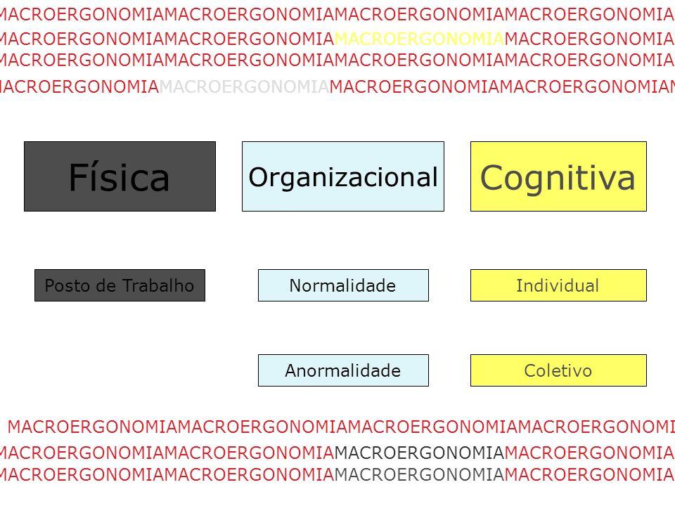 Física Organizacional Cognitiva Posto de TrabalhoIndividual Coletivo Normalidade Anormalidade MACROERGONOMIAMACROERGONOMIAMACROERGONOMIAMACROERGONOMIA