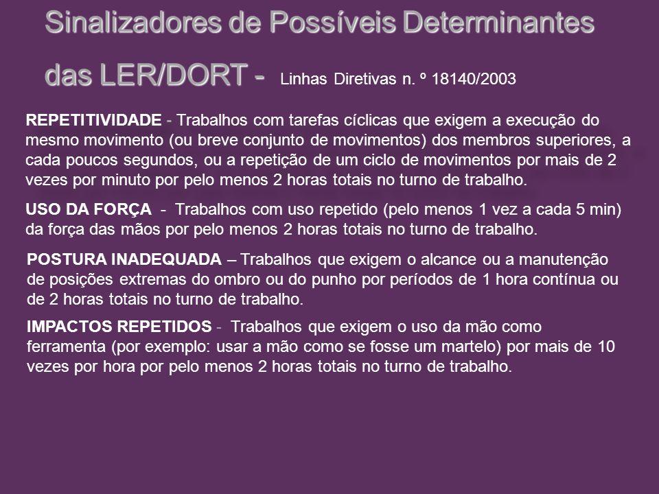 Sinalizadores de Possíveis Determinantes das LER/DORT - das LER/DORT - Linhas Diretivas n. º 18140/2003 REPETITIVIDADE - Trabalhos com tarefas cíclica