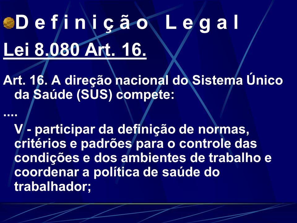 D e f i n i ç ã o L e g a l Lei 8.080 Art.16. Art.