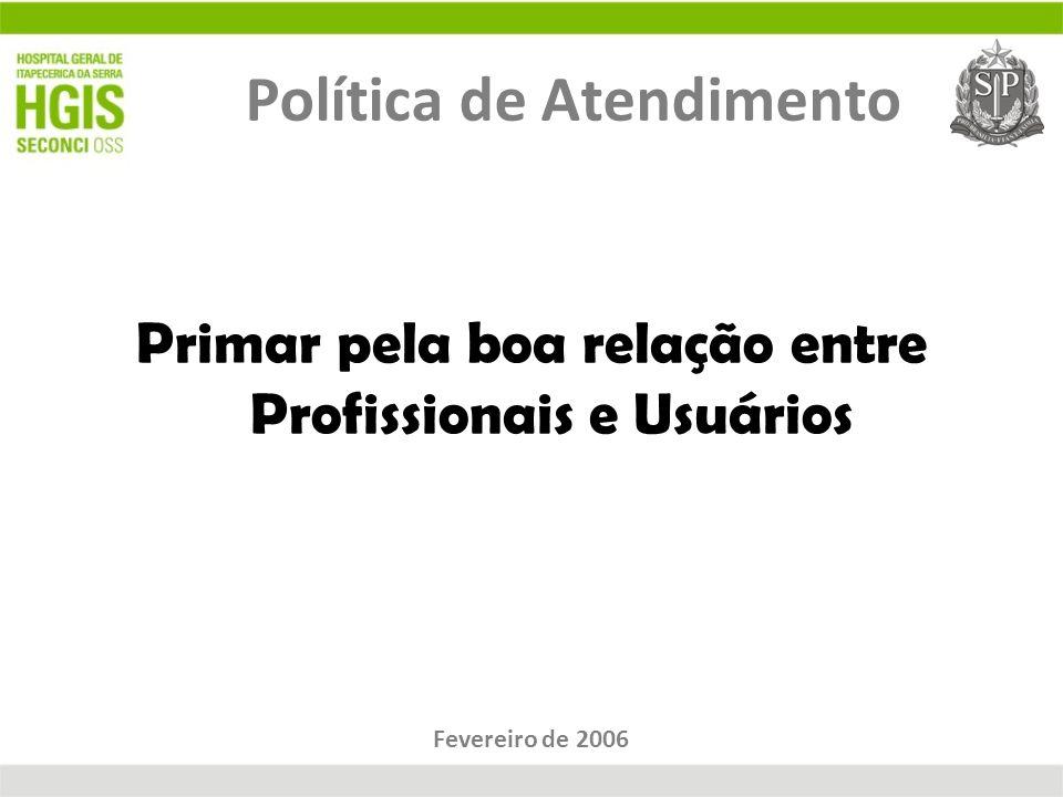Política de Atendimento Primar pela boa relação entre Profissionais e Usuários Fevereiro de 2006