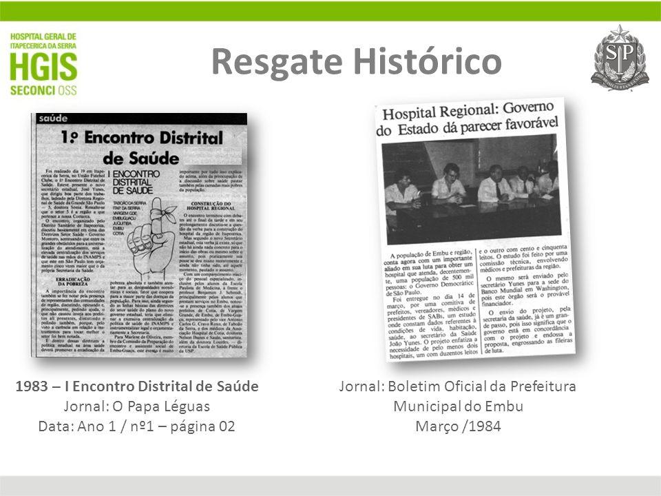 1983 – I Encontro Distrital de Saúde Jornal: O Papa Léguas Data: Ano 1 / nº1 – página 02 Movimento Pró Hospitais Regional Jornal: Boletim Oficial da P