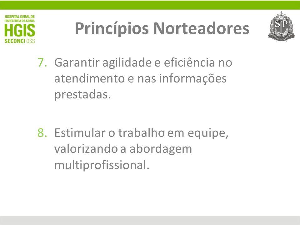 7.Garantir agilidade e eficiência no atendimento e nas informações prestadas. 8.Estimular o trabalho em equipe, valorizando a abordagem multiprofissio