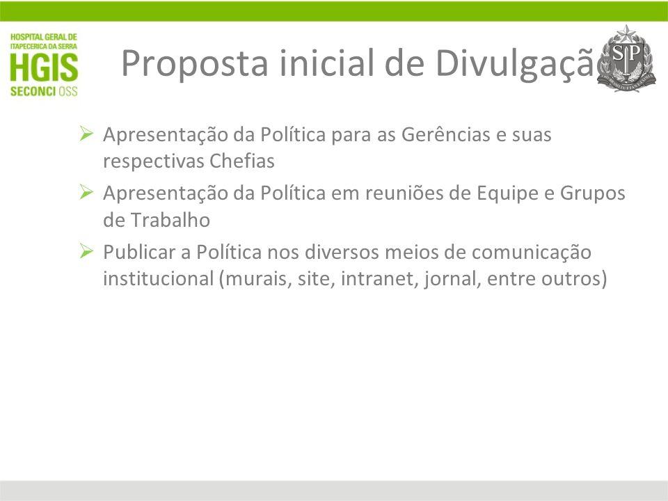 Proposta inicial de Divulgação Apresentação da Política para as Gerências e suas respectivas Chefias Apresentação da Política em reuniões de Equipe e