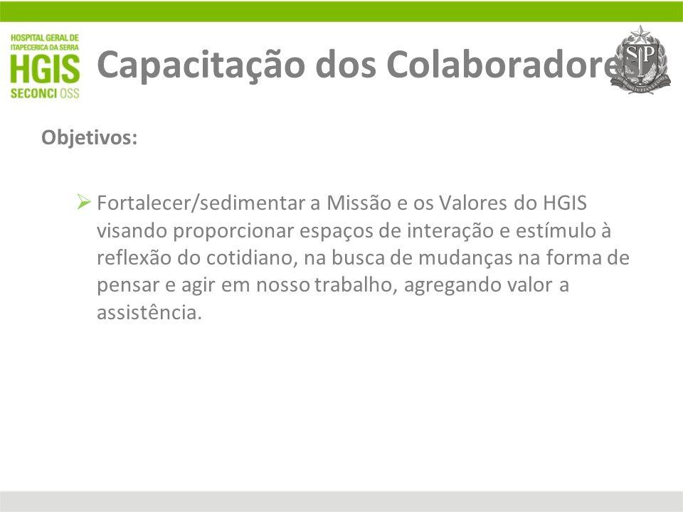 Capacitação dos Colaboradores Objetivos: Fortalecer/sedimentar a Missão e os Valores do HGIS visando proporcionar espaços de interação e estímulo à re