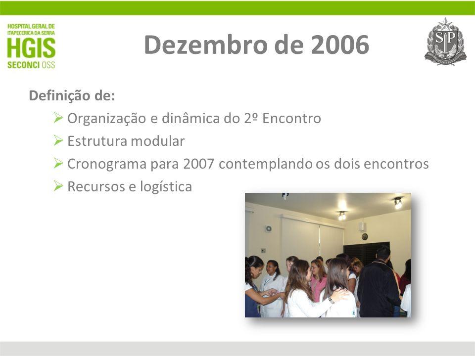Dezembro de 2006 Definição de: Organização e dinâmica do 2º Encontro Estrutura modular Cronograma para 2007 contemplando os dois encontros Recursos e