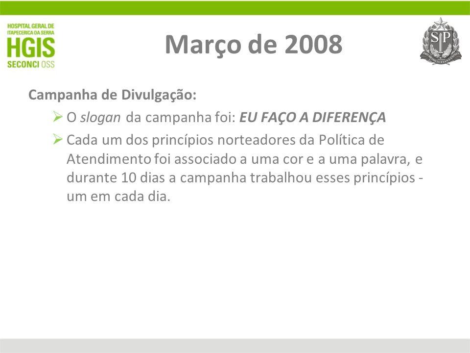 Março de 2008 Campanha de Divulgação: O slogan da campanha foi: EU FAÇO A DIFERENÇA Cada um dos princípios norteadores da Política de Atendimento foi