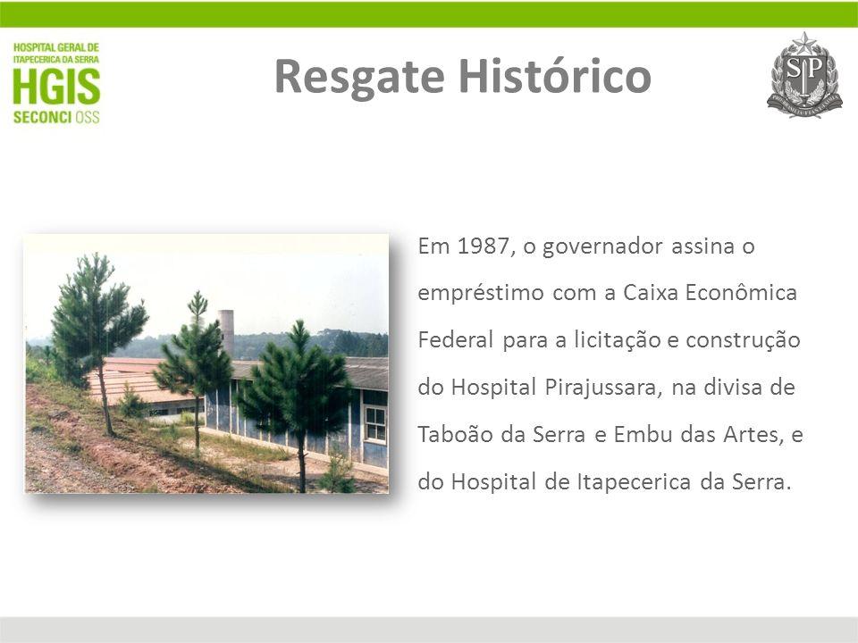 Em 1987, o governador assina o empréstimo com a Caixa Econômica Federal para a licitação e construção do Hospital Pirajussara, na divisa de Taboão da
