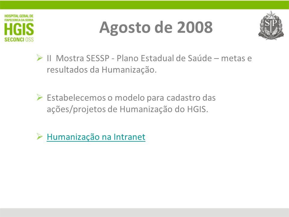 Agosto de 2008 II Mostra SESSP - Plano Estadual de Saúde – metas e resultados da Humanização. Estabelecemos o modelo para cadastro das ações/projetos