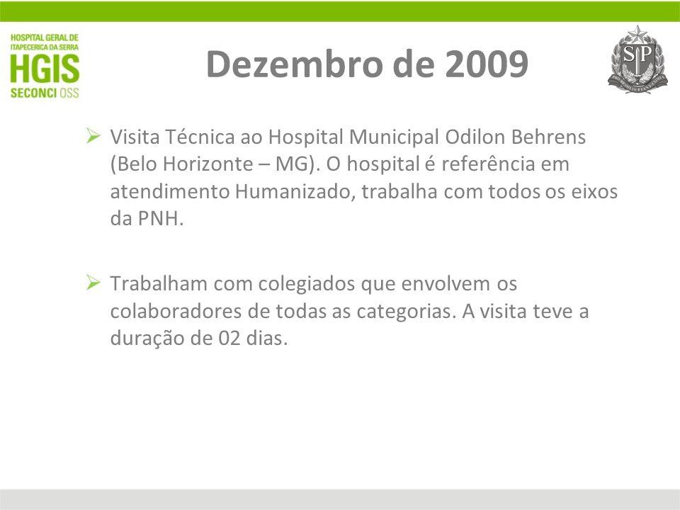 Dezembro de 2009 Visita Técnica ao Hospital Municipal Odilon Behrens (Belo Horizonte – MG). O hospital é referência em atendimento Humanizado, trabalh