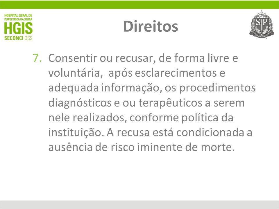 Direitos 7.Consentir ou recusar, de forma livre e voluntária, após esclarecimentos e adequada informação, os procedimentos diagnósticos e ou terapêuti