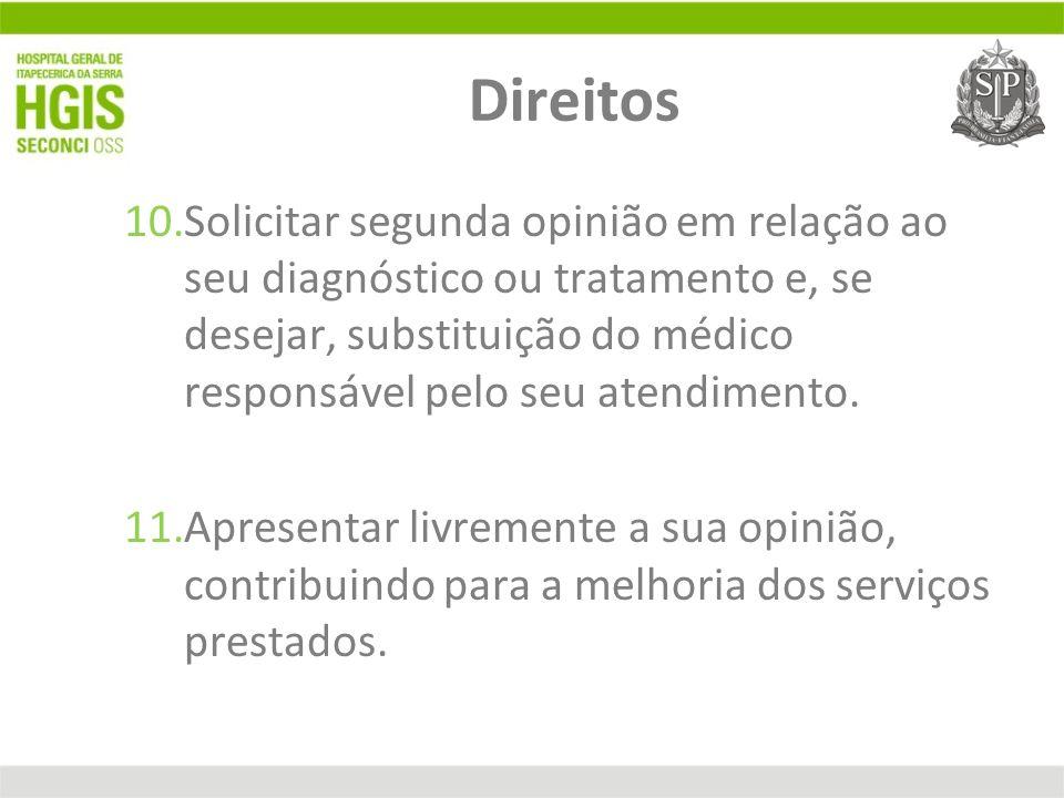 Direitos 10.Solicitar segunda opinião em relação ao seu diagnóstico ou tratamento e, se desejar, substituição do médico responsável pelo seu atendimen