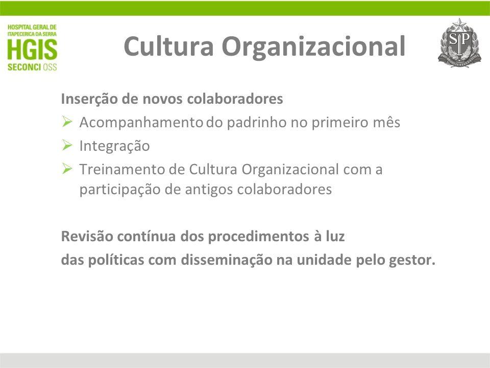 Cultura Organizacional Inserção de novos colaboradores Acompanhamento do padrinho no primeiro mês Integração Treinamento de Cultura Organizacional com