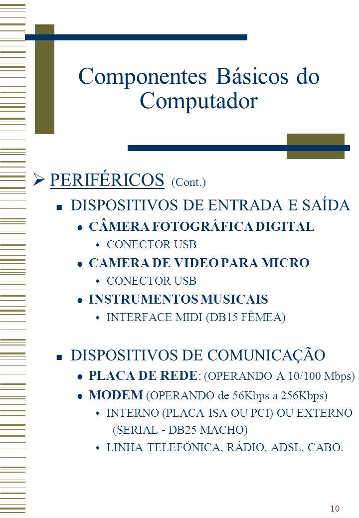 10 PERIFÉRICOS (Cont.) DISPOSITIVOS DE ENTRADA E SAÍDA CÂMERA FOTOGRÁFICA DIGITAL CONECTOR USB CAMERA DE VIDEO PARA MICRO CONECTOR USB INSTRUMENTOS MU