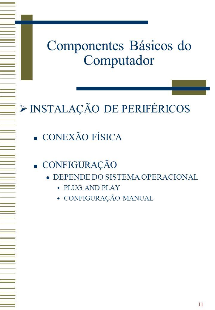 11 INSTALAÇÃO DE PERIFÉRICOS CONEXÃO FÍSICA CONFIGURAÇÃO DEPENDE DO SISTEMA OPERACIONAL PLUG AND PLAY CONFIGURAÇÃO MANUAL Componentes Básicos do Compu