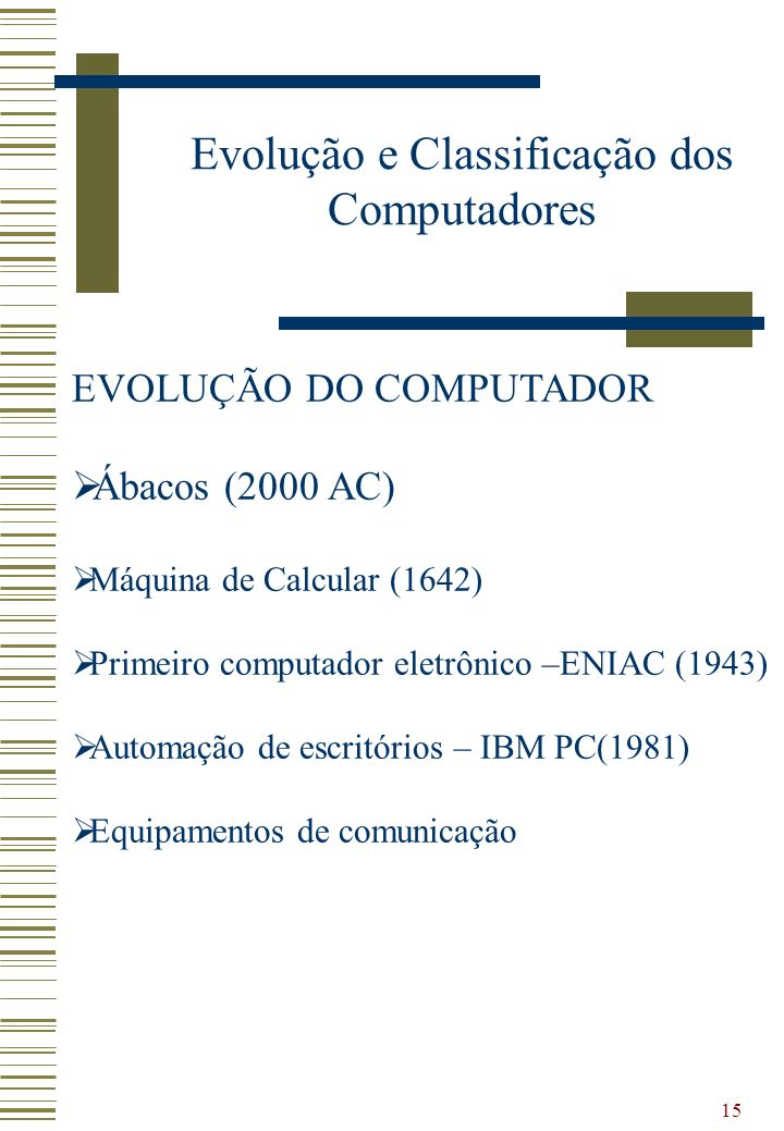 15 EVOLUÇÃO DO COMPUTADOR Ábacos (2000 AC) Máquina de Calcular (1642) Primeiro computador eletrônico –ENIAC (1943) Automação de escritórios – IBM PC(1