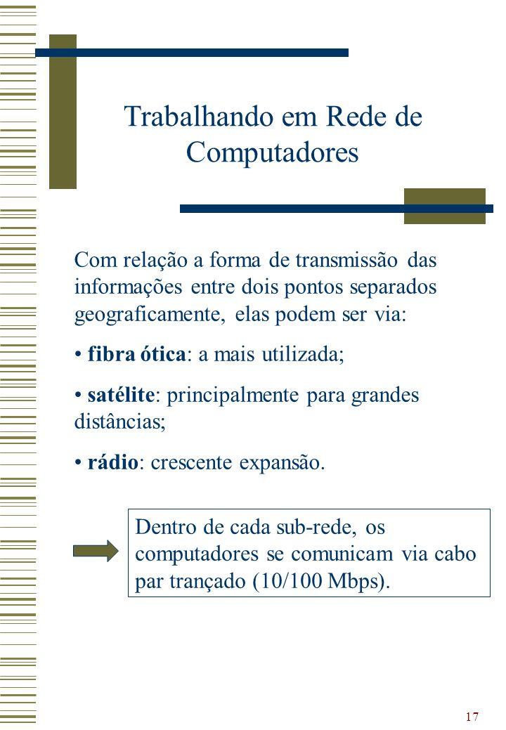 17 Trabalhando em Rede de Computadores Com relação a forma de transmissão das informações entre dois pontos separados geograficamente, elas podem ser