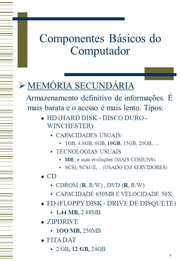 7 MEMÓRIA SECUNDÁRIA Armazenamento definitivo de informações. É mais barata e o acesso é mais lento. Tipos: HD (HARD DISK - DISCO DURO - WINCHESTER) C