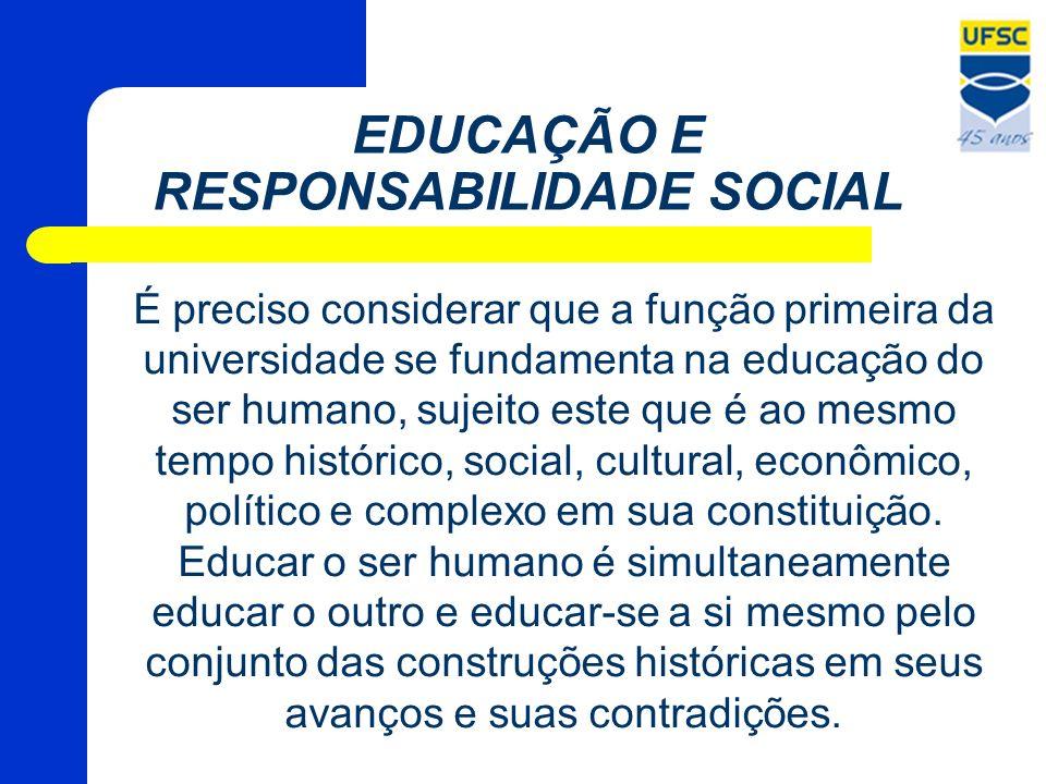 EDUCAÇÃO E RESPONSABILIDADE SOCIAL É preciso considerar que a função primeira da universidade se fundamenta na educação do ser humano, sujeito este qu