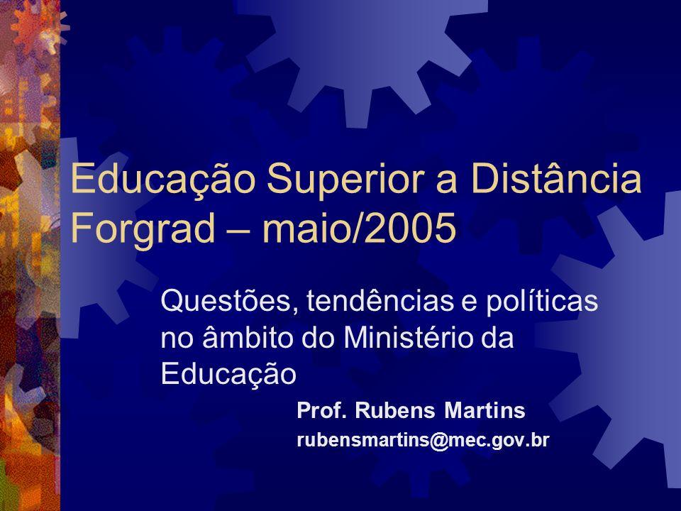 Perfil das instituições credenciadas Nordeste11 (5 BA) Norte 2 Sudeste14 (5 SP, 5 RJ) Sul19 (8 PR, 7 RS) Centro-Oeste 7 (3 DF)