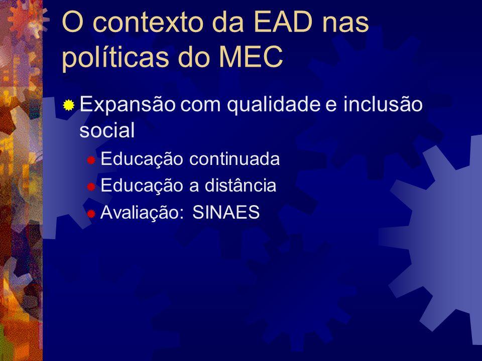 Perfil das instituições credenciadas 27 particulares 26 públicas (10 estaduais; 16 IFES) Listagem disponível em www.mec.gov.br/sesu (escolher o link Educação Superior a distância) www.mec.gov.br/sesu