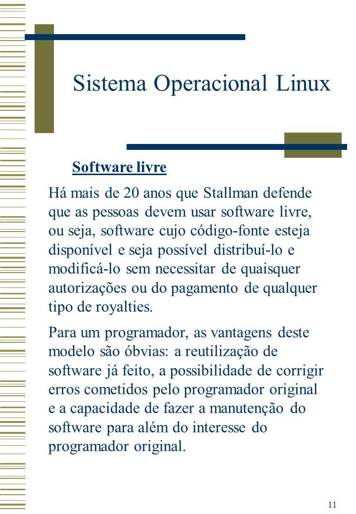 11 Sistema Operacional Linux Software livre Há mais de 20 anos que Stallman defende que as pessoas devem usar software livre, ou seja, software cujo c