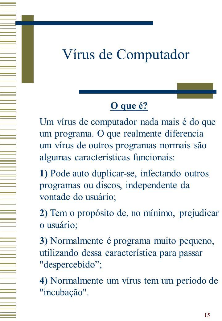 15 Vírus de Computador O que é? Um vírus de computador nada mais é do que um programa. O que realmente diferencia um vírus de outros programas normais