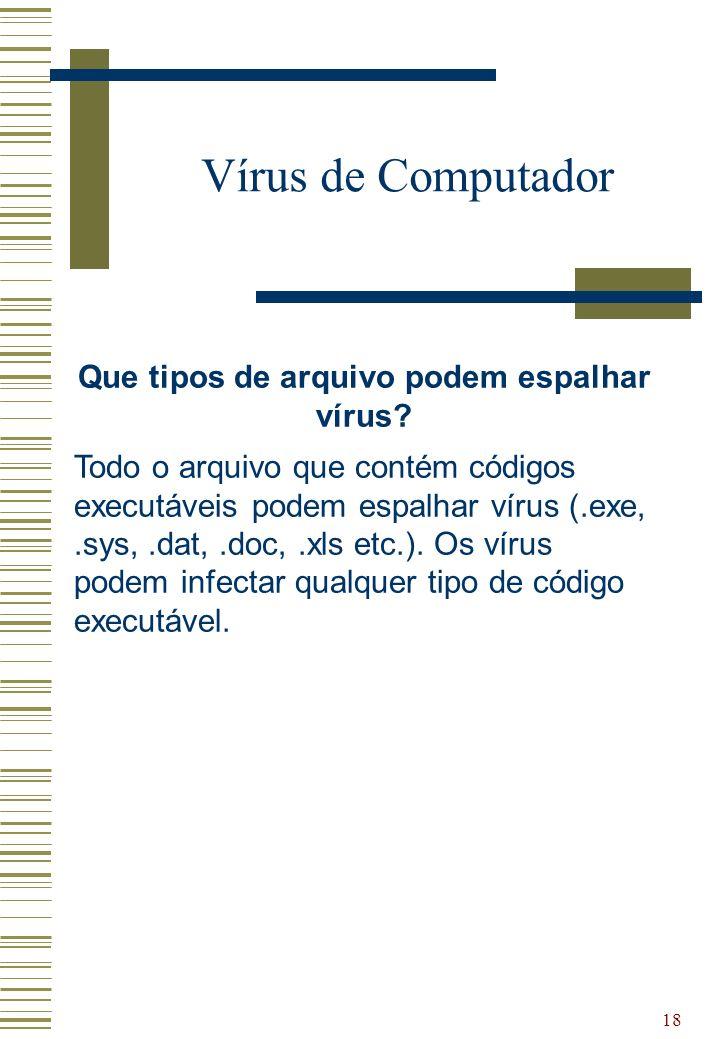 18 Vírus de Computador Que tipos de arquivo podem espalhar vírus? Todo o arquivo que contém códigos executáveis podem espalhar vírus (.exe,.sys,.dat,.