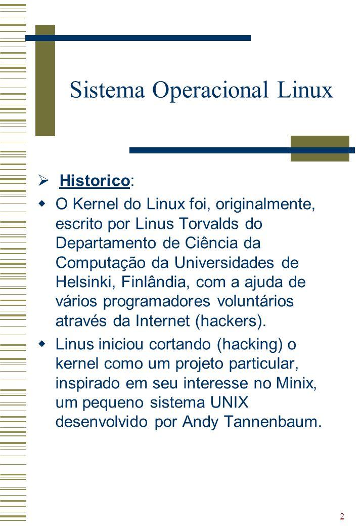 2 Historico: O Kernel do Linux foi, originalmente, escrito por Linus Torvalds do Departamento de Ciência da Computação da Universidades de Helsinki, F