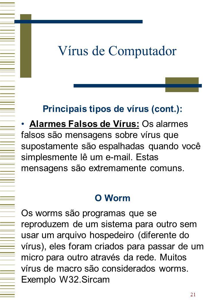 21 Vírus de Computador Principais tipos de vírus (cont.): Alarmes Falsos de Vírus: Os alarmes falsos são mensagens sobre vírus que supostamente são es
