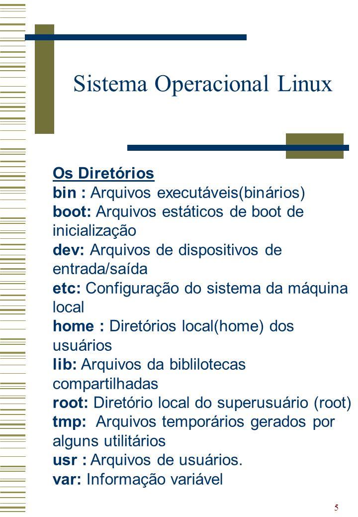 5 Sistema Operacional Linux Os Diretórios bin : Arquivos executáveis(binários) boot: Arquivos estáticos de boot de inicialização dev: Arquivos de disp