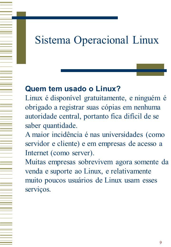 9 Sistema Operacional Linux Quem tem usado o Linux? Linux é disponível gratuitamente, e ninguém é obrigado a registrar suas cópias em nenhuma autorida