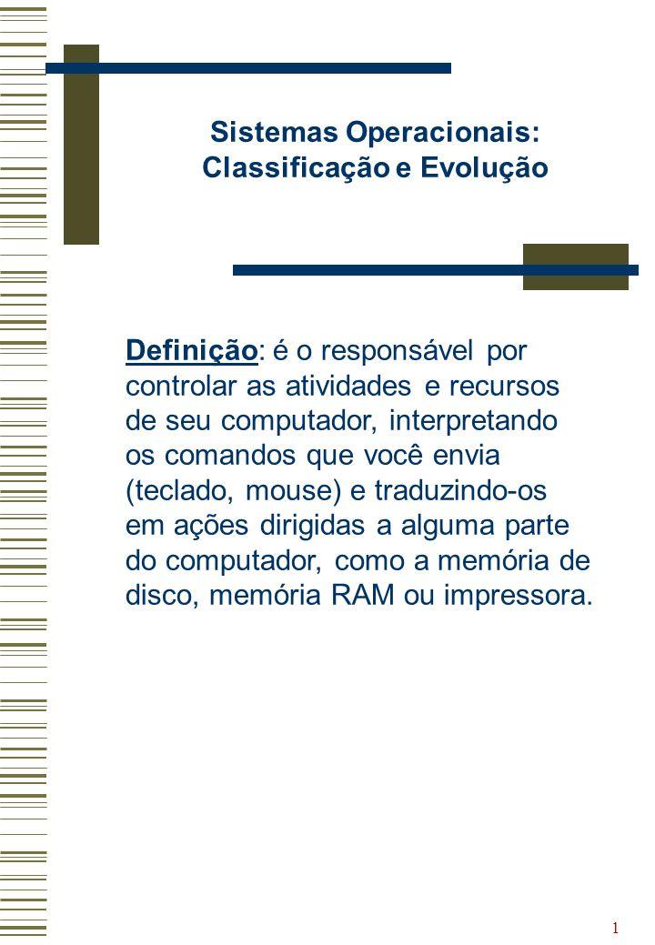 1 Sistemas Operacionais: Classificação e Evolução Definição: é o responsável por controlar as atividades e recursos de seu computador, interpretando o